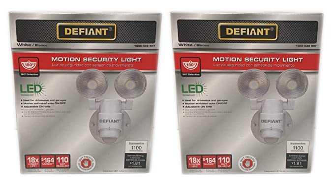 (2 Pack) LED Motion Sensor Security Light by Defiant | 180 Degree 180 Degree