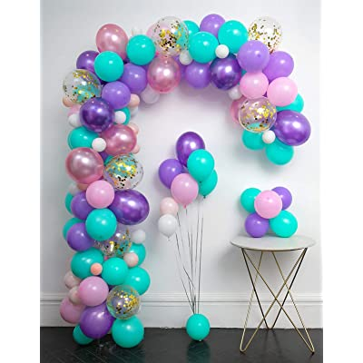 Unicorn Balloons Arch 114pcs & Garland Kit (Gold Confetti .Pearlescent Pink Purple.Light Purple.Mint Green.White.) Tying Tools+Decorating Strip+Glue Dots+Flower Clips+Ribbon Baby Shower Unicorn Party: Toys & Games