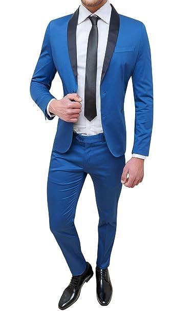 Abito uomo sartoriale blu chiaro slim fit in cotone raso elegante cerimonia   Amazon.it  Abbigliamento 9ed1a5b969c