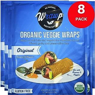 product image for Raw Organic Original Veggie Wraps | Wheat-Free, Gluten Free, Paleo Wraps, Non-GMO, Vegan Friendly Made in the USA (8 Pack)