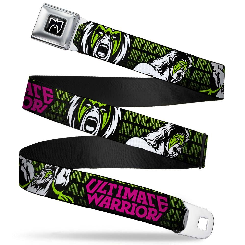 ULTIMATE WARRIOR 2-Poses//Face Black//Green//White//Pink 1.5 Wide 32-52 Inches in Length Buckle-Down Seatbelt Belt