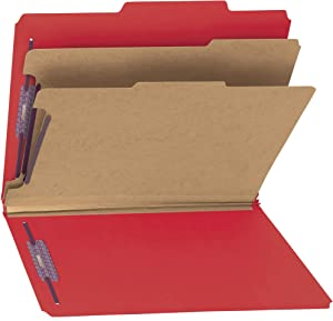 """Smead PressGuard Classification File Folder with SafeSHIELD Fasteners, 2 Dividers, 2"""" Expansion, Letter Size, Bright Red, 10 per Box (14202)"""