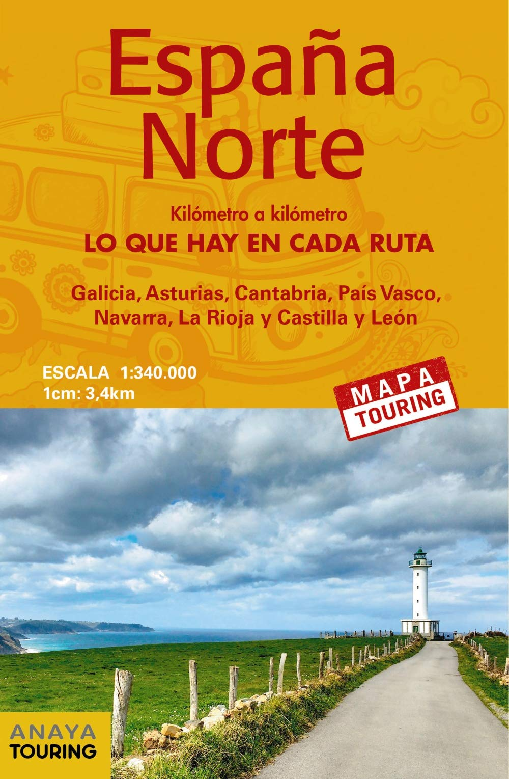 Mapa de carreteras 1:340.000 - España Norte desplegable Mapa Touring: Amazon.es: Anaya Touring: Libros