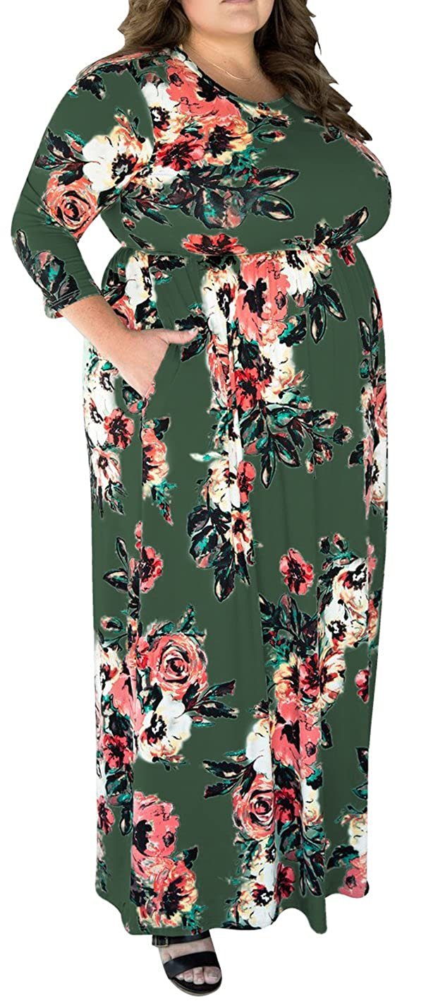 5b66d1f2dc Classic Boho Flower Floral Printed Dress, Emipre Waisted Maxi Dress with  3/4 Sleeve / Short Sleeve, Round Neck Long Maxi Dress with Pockets, Great  to Hold ...
