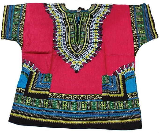 42047519ce8 Amazon.com  King-Sized Traditional Print Unisex Dashiki Top - Up to 68