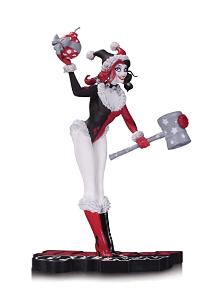 Harley Quinn Christmas.Dc Collectibles Harley Quinn Red Black And White Holiday Statue