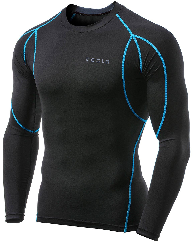 Tesla TM-MUD11-TRN_Large Men's Long Sleeve T-Shirt Baselayer Cool Dry Compression Top MUD11