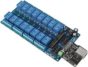 Ethernet Control Module, LAN WAN Network Web Server Relay Control Board WEB Server RJ45 Port+16-Channel Relay