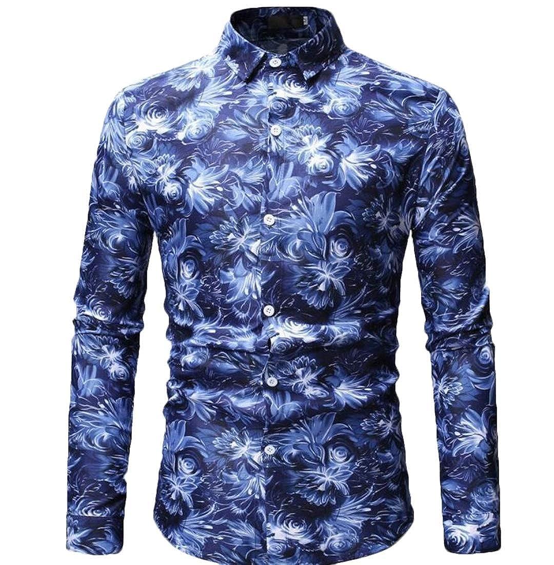 Mens Slim Long Sleeve Beach Patterns Fashion Button Down Dress Shirts