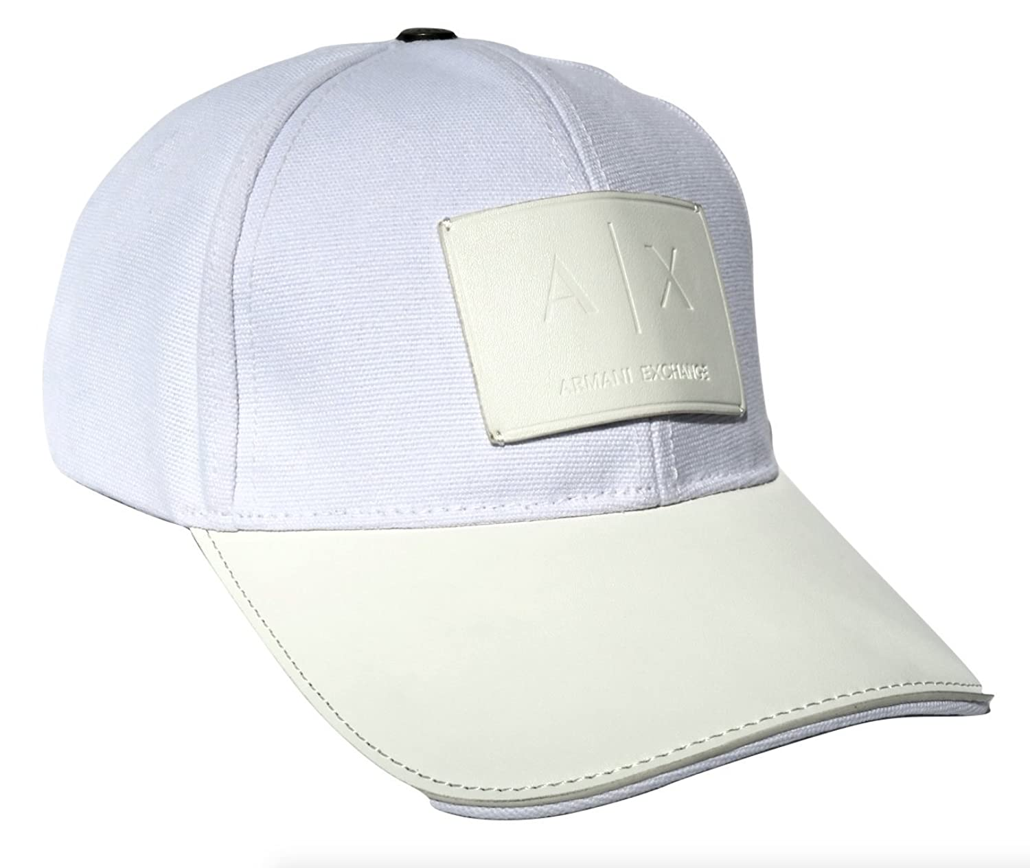 d0cce112 Top2: Armani Exchange Leather Patch Baseball Hat, White, One Size/  Adjustable