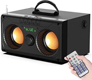 EIFER Bluetooth Speaker Portable Bluetooth Speakers Wireless with Subwoofer Rich Bass Stereo Music Plays Outdoor Indoor Party Speakers Support Remote Control FM Radio TF Card LCD Display for Party