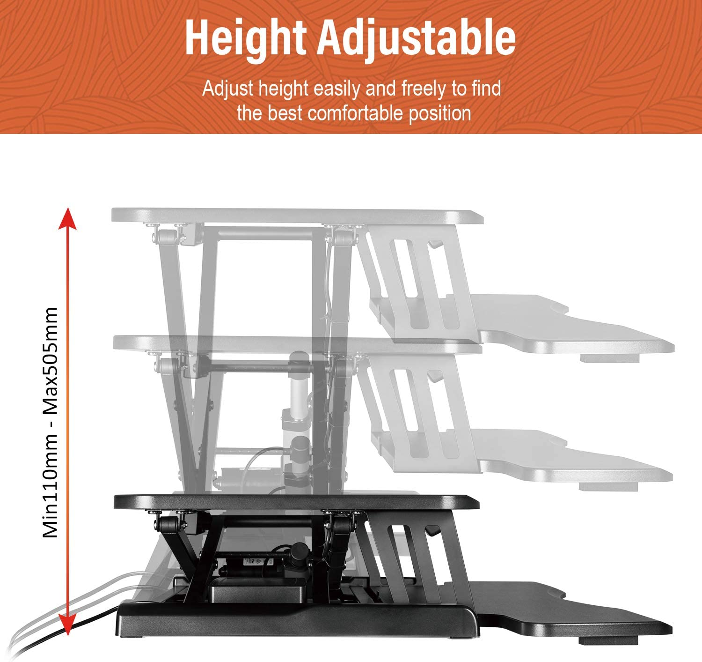 Compatible with Monitor Arm 32 Wide Platform PUTORSEN/® Electric Standing Desk Height Adjustable Sit Stand Desk Converter Stand Up Desk Riser Ergonomic Standing up Workstation with Keyboard Tray