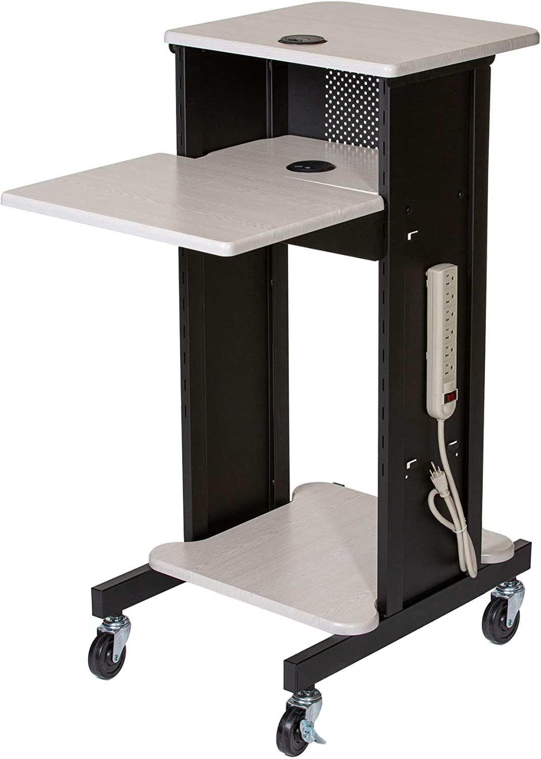 OEF Furnishings Presentation Cart and Stand, OEFPRC200, Steel Frame, Ivory Woodgrain