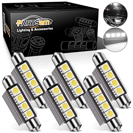 Amazon.com: Partsam 42mm Festoon LED Light Bulbs Error Free LED Interior  Lights Dome Lights Bulbs 211 2 578 569 Festoon LED Bulb   White (6 Pcs):  Automotive
