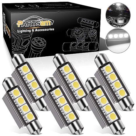 Partsam 42mm Festoon Led Light Bulbs Error Free Led Interior Lights Dome Lights Bulbs 211 2 578 569 Festoon Led Bulb White 6 Pcs