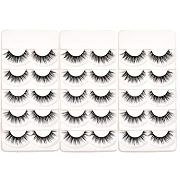 95bc5987458 Amazon.com : Wleec Beauty 3D Silk Lashes Handmade Dramatic False Eyelash  Pack #3D/F15 (15 Pairs/3 Pack) : Beauty