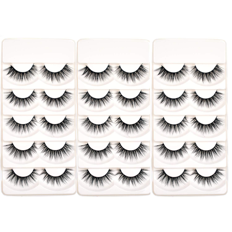 97dd130834d Wleec Beauty 3D Silk Lashes Handmade Dramatic False Eyelash Pack #3D/F15 (15