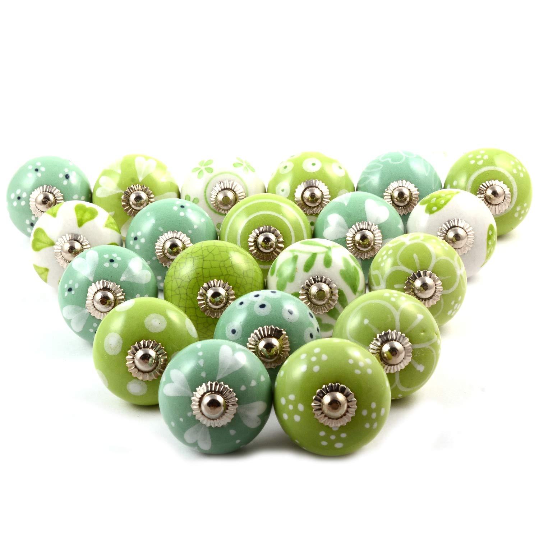 Verschiedene 20 Keramikkn/öpfe mit mehrfarbigem Blumenmuster gemischte Designs Schrankt/ürkn/öpfe Keramik-T/ürgriffe in Premium-Qualit/ät Schubladengriffe von The Boho Street.