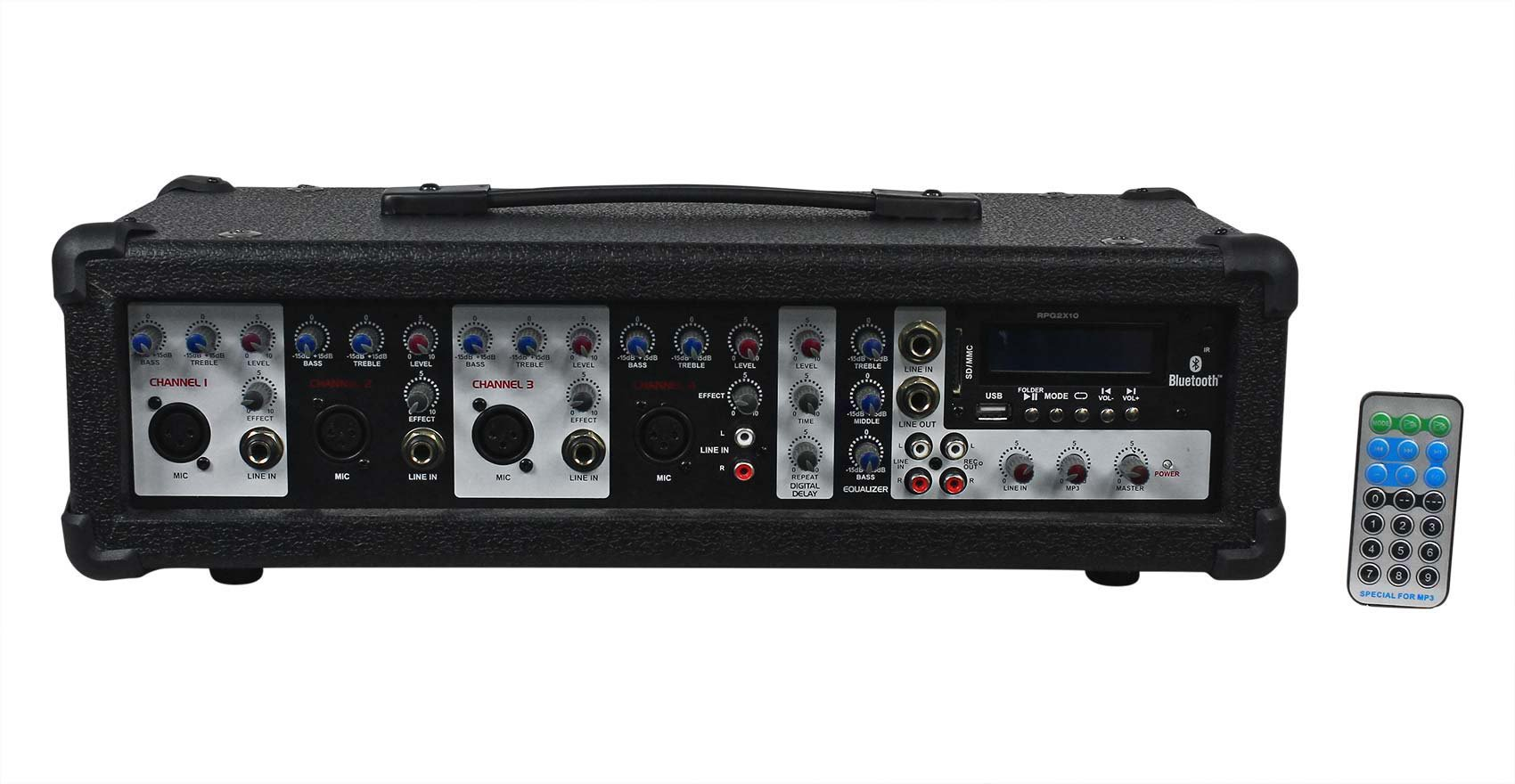 """Rockville RPG2X10 Package PA System Mixer//Amp+10/"""" Speakers+Stands+Mics+Bluetooth"""