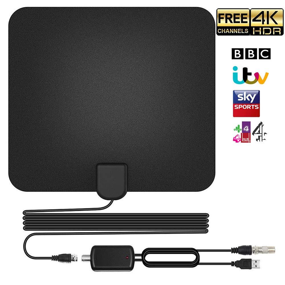 Antenne TNT HD Antenne TV Intérieur Puissante 50-60 Miles Range Amplifié Digital Antenne HDTV avec 13,2ft de Haute Performance Câble Coaxial, Détachable Signal d'amplificateur Booster 1080P 4K YunPoo