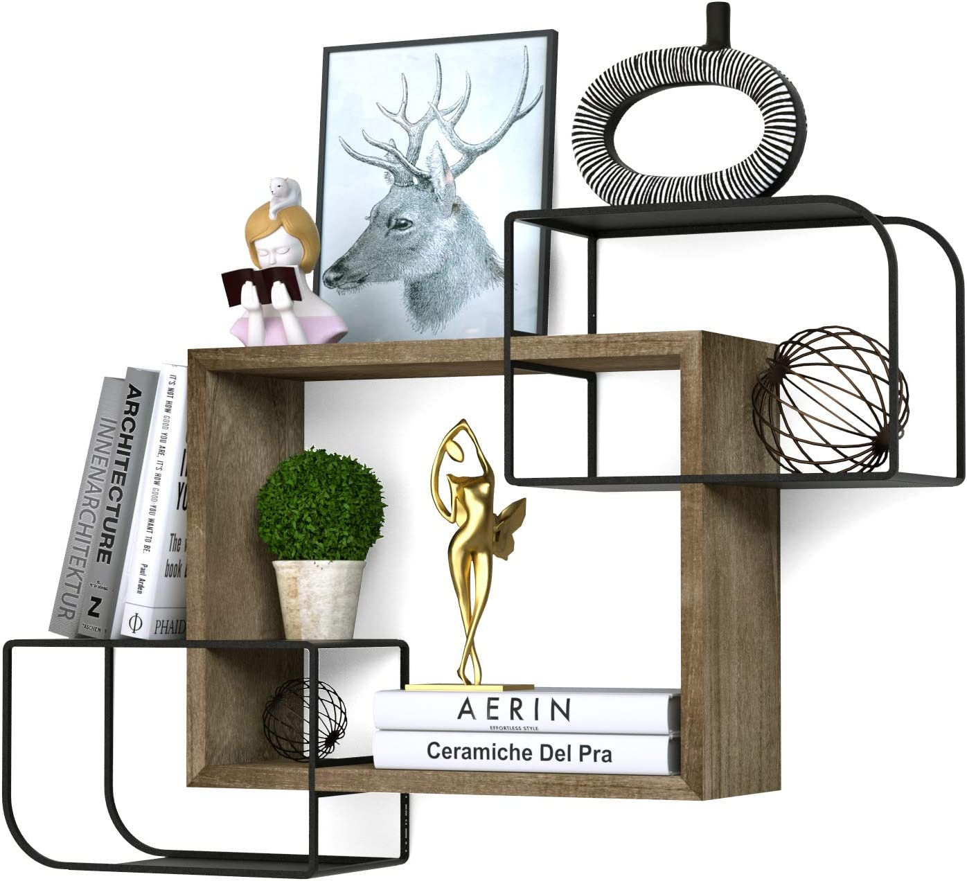 Minggoo Cubes Wall Shelves Set Intersecting Floating Shelves for Office Space, Living Room, Bedroom Decor, Durable, Easy to Install Walnut
