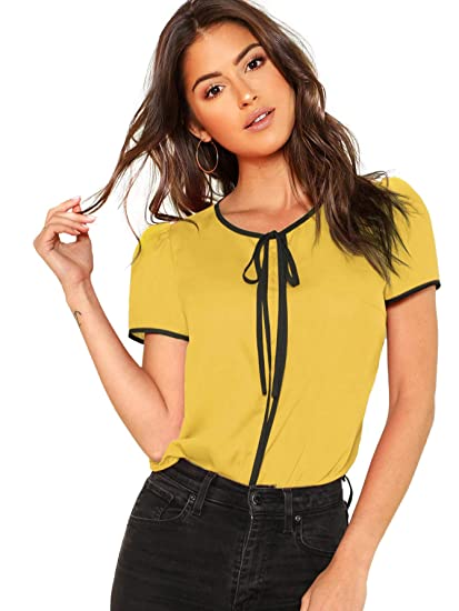 7773e0bf Floerns Women's Summer Casual Short Sleeve Tie Bow Neck Chiffon Blouse Top  Ginger XS