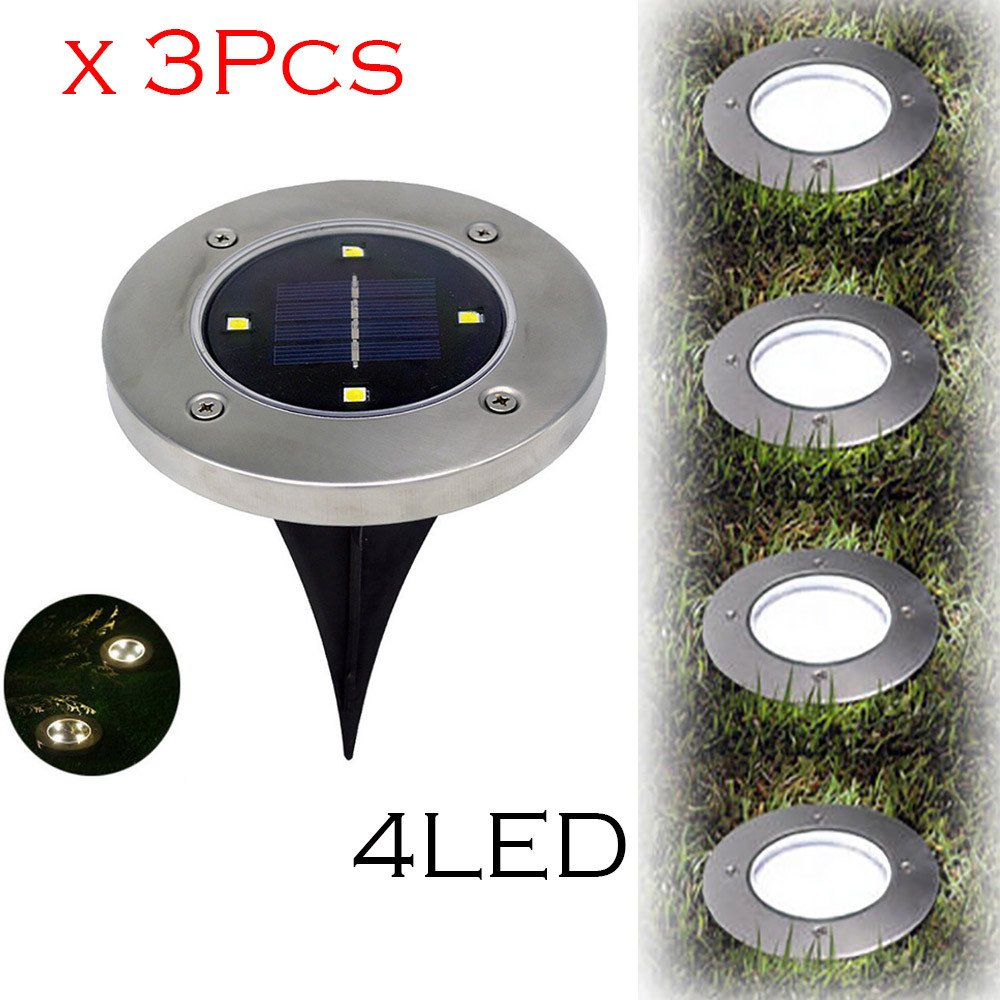 Solar Ground Lights,Hongxin Solar Powered Ground Light Waterproof Garden Pathway Deck Lights 4 LEDs Solar Lamp For Home Yard Driveway Lawn Road,3 Pcs/Set