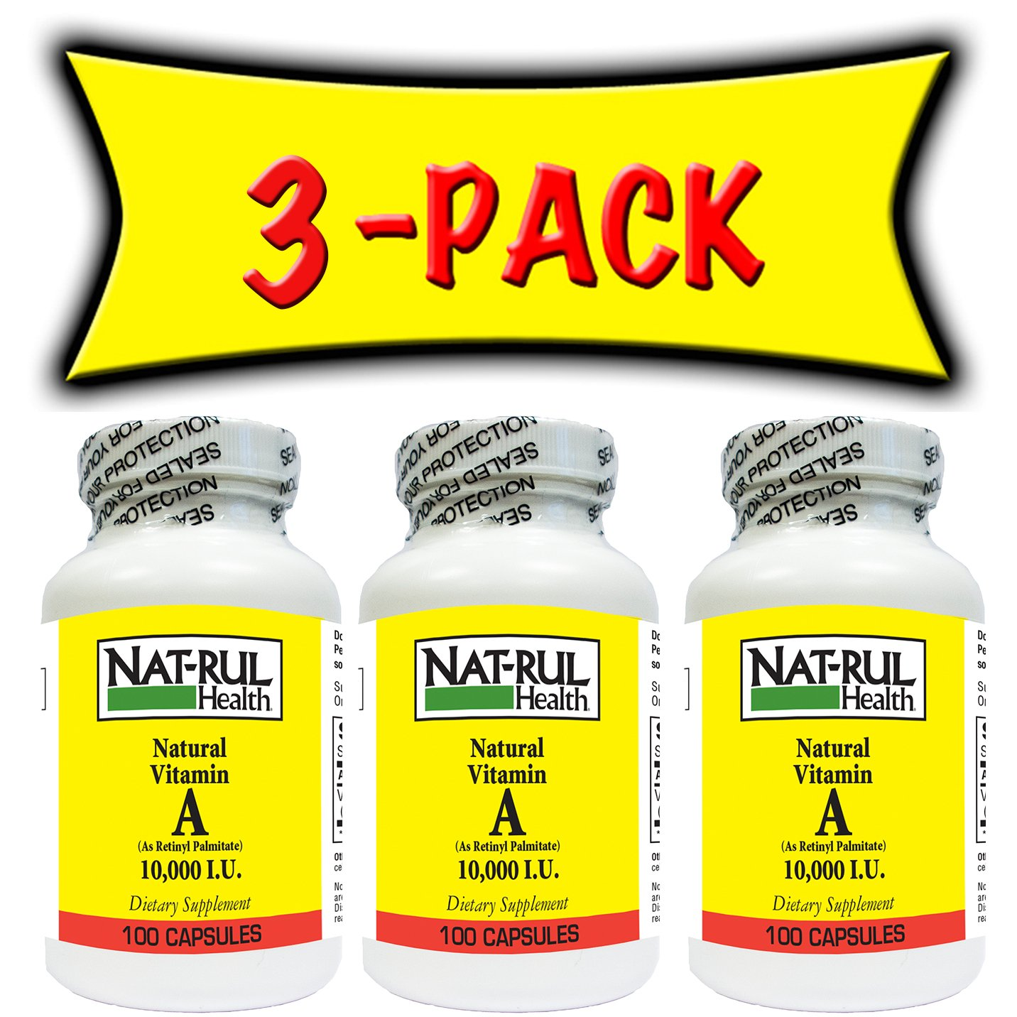 Nat-rul Health Vitamin A 10000iu 100 Capsules (3 PACK)