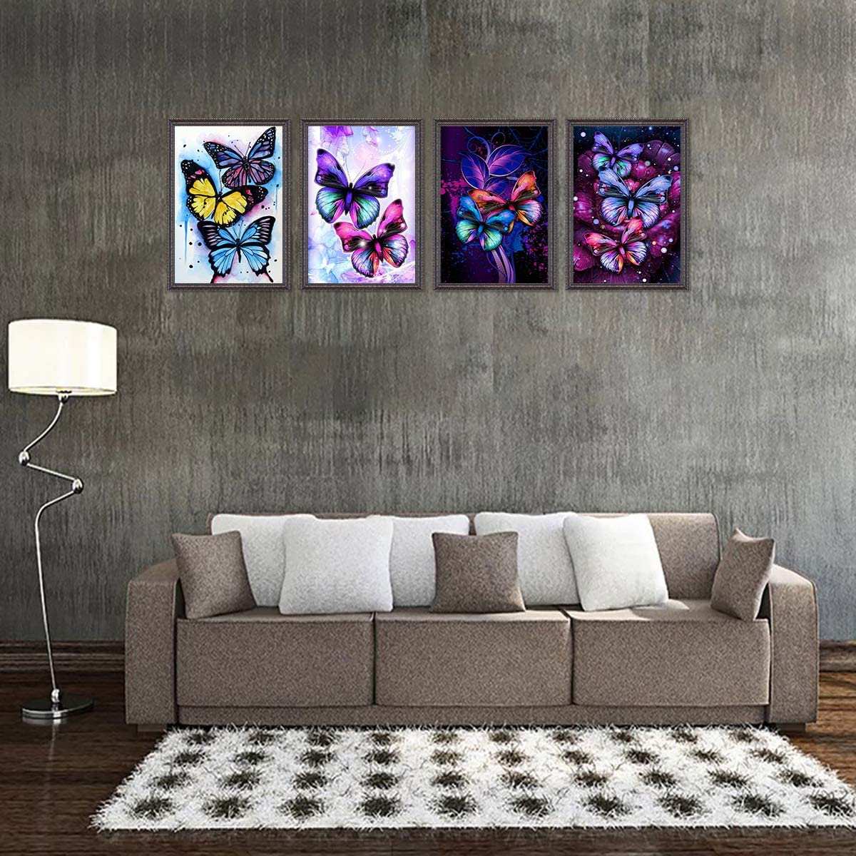 KISSBUTY DIY Butterfly Diamond Rhinestone Painting Kits for Adults and Beginner Butterflies Diamond Arts Craft Decor 13.8 X 9.8 Inch 4 Pack 5D Full Drill Diamond Painting Kit