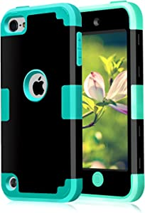 Case for iPod 7 6 5- CheerShare iPod Touch 5 6 7 Case, The Best Silicone Shockproof High Impact Layered Case + Protective Cover Case for iPod Touch 7th 6th 5th Generation(Black + Blue)