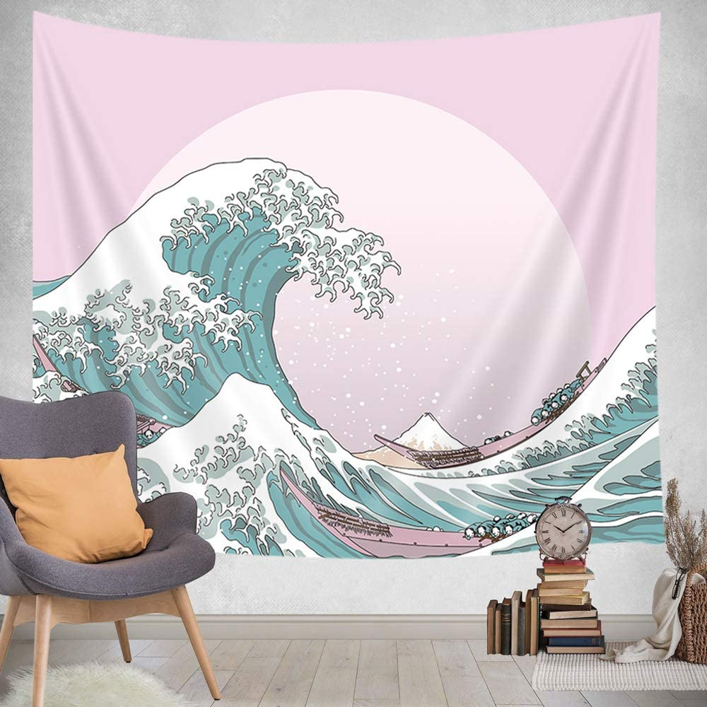 JAWO Japanese Tapestry, Great Wave Kanagawa Pink Background Tapestries, Sunset Sea Ocean Waves Tapestry Wall Hanging for Bedroom Living Room Dorm 71X60Inches