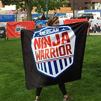 American Ninja Warrior Faux Mink Sherpa Throw Blanket, Black 60