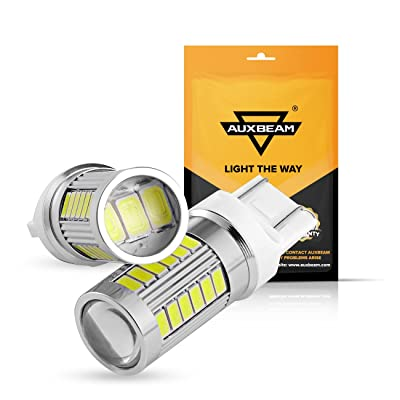 Auxbeam T20 7443 LED Blubs, 7443 Reverse Light Bulbs Super Bright 5630 33-SMD T20 W21W 7443 Turn Signal Light Bulbs 6000K Xenon White LED Lights Bulbs for Backup Reverse Light Replacement (Set of 2): Automotive