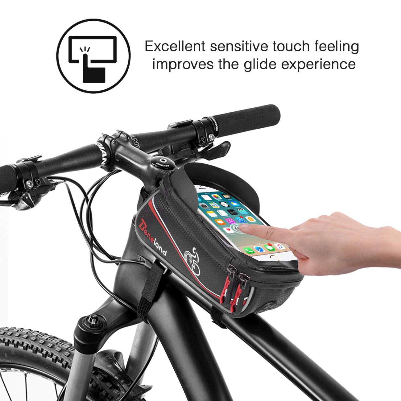 Bike Bag, Frame Bike Bag with Waterproof Touch Screen Phone Holder Case for iPhone X 8 7 6s 6 plus 5s 5/Samsung Galaxy s7 s6 note 7 Cellphone Below 6.0 Inch by Beneland (Image #5)