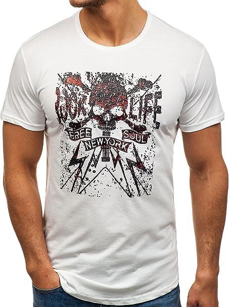BOLF Hombre Camiseta de Manga Corta con Estampado Escote Redondo Deporte Estilo Deportivo Motivo 3C3 rwHDcK