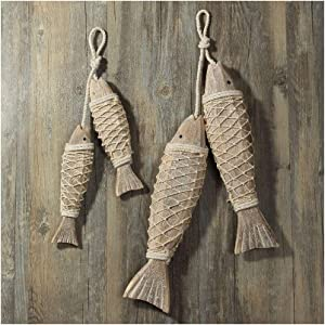 Wooden Fish Decor Hanging Wood Fish Decorations for Wall, Rustic Nautical Fish Decor Beach Theme Home Decoration Fish Sculpture Home Decor for Bathroom Bedroom Lake House Decoration (2 Set)