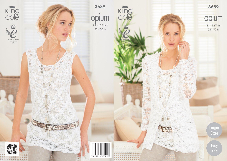 King Cole Opium Ladies Cardigan & Vest Knitting Pattern 3689: Amazon ...