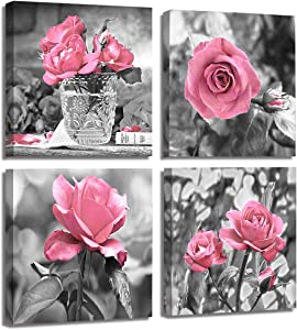 4 Panel Pink Rose Flower Wall Art Paintings Wall Art Paintings Floral Prints on Black and White Canvas Wall Decoration Framed for Bathroom Bedroom Decor Artwork 14x14 Inch