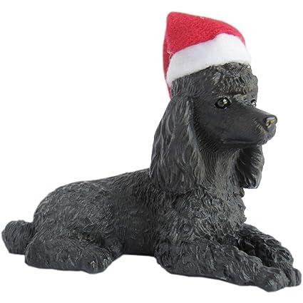 ba34f63deb7a0 Amazon.com  Sandicast Black Poodle with Santa Hat Christmas Ornament ...