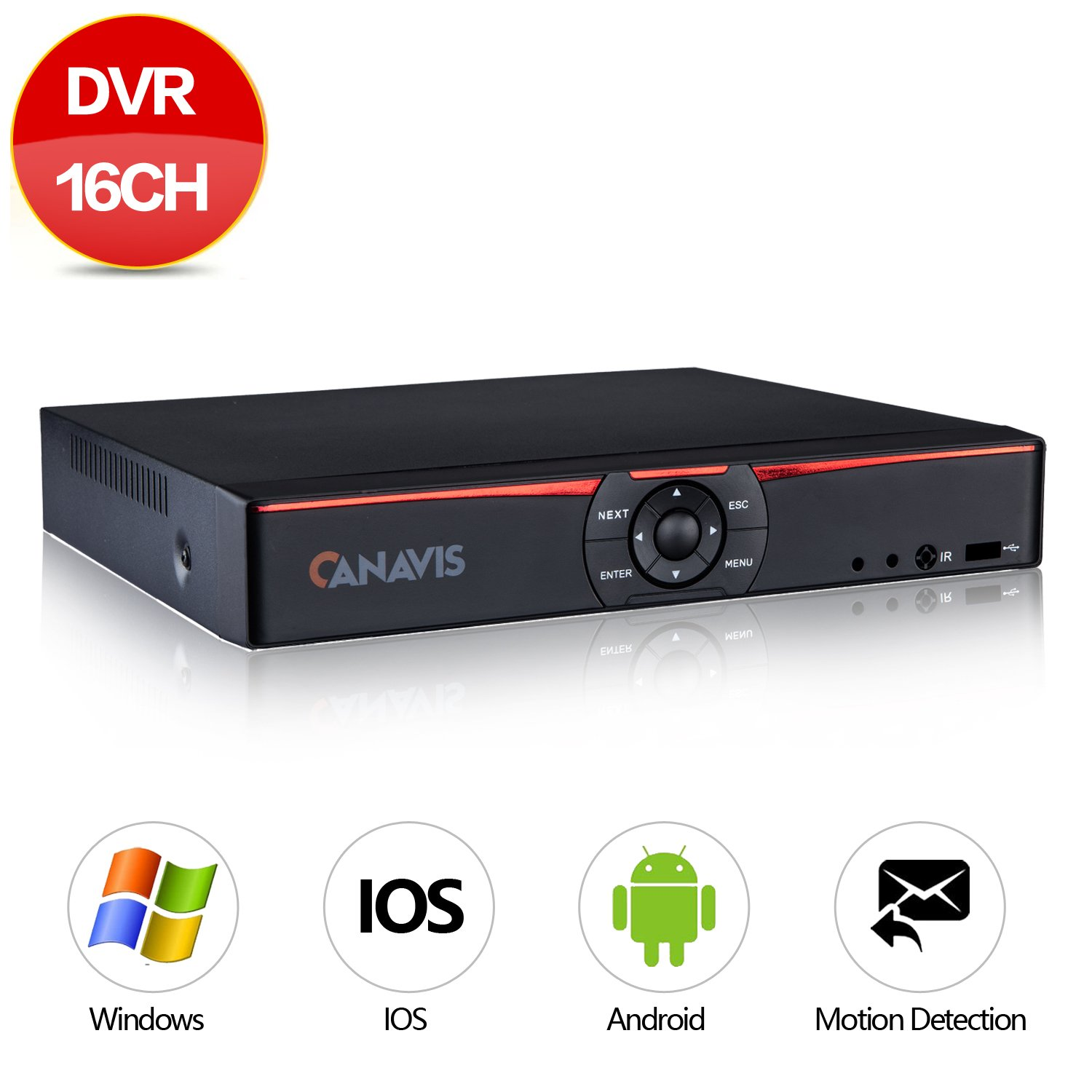 CANAVIS 16Channel 1080N Hybrid 5-in-1 DVR H.264 CCTV Security Surveillance DVR Record System NO Hard Disk (Full 720P,QR Code Scan Quick Access, Smartphone& PC Easy Remote Access)