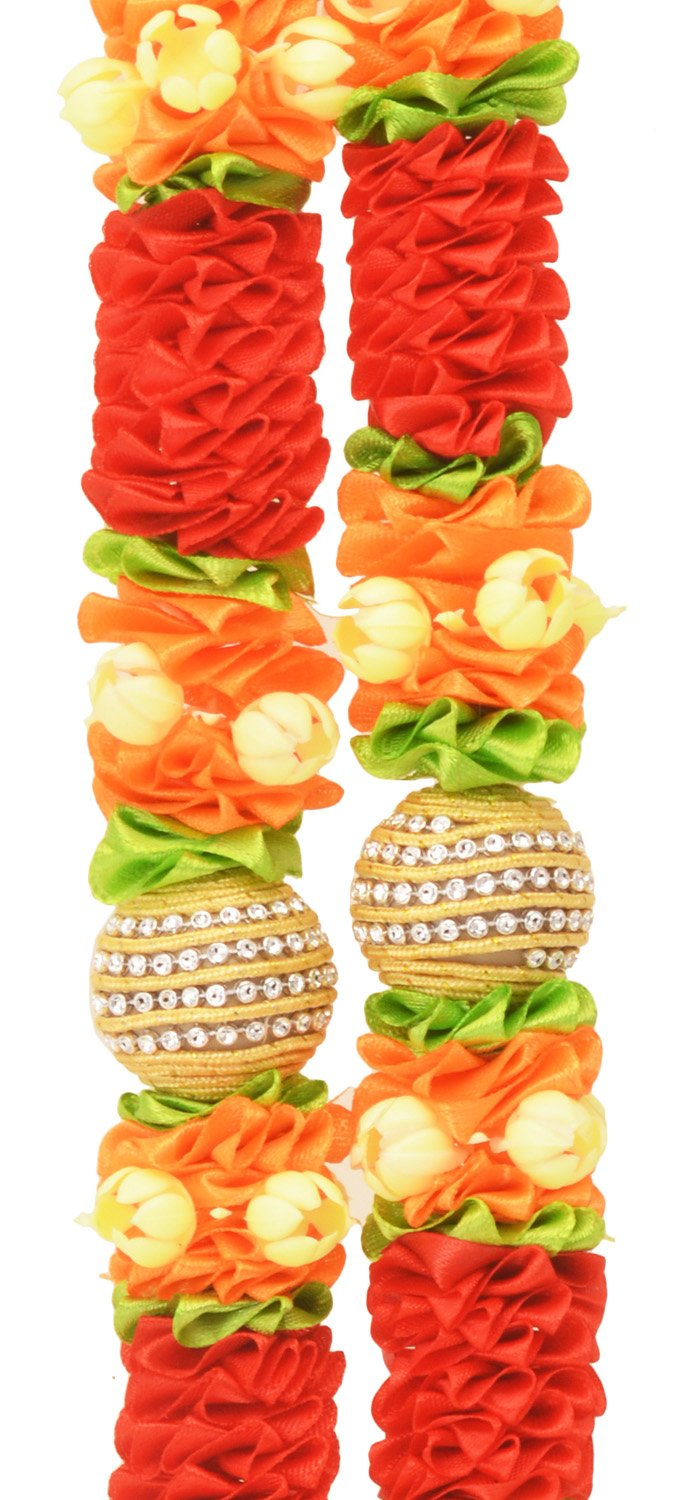 Decoration Craft Fabric Ribbon Red colored Garland (33 CM + Ribbon) by Decoration Craft (Image #2)