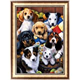 Sanwooden Dog Family 5D Diamond Painting Cross Stitch Kit DIY Craft Home Cafe Decor