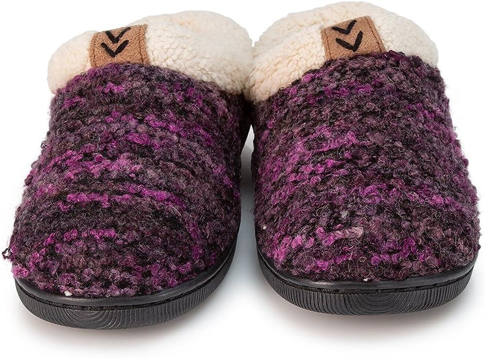 Pupeez Girls Knitted Slippers; A Cozy Warm Fleece Lined Sweater Style Kids House Shoe