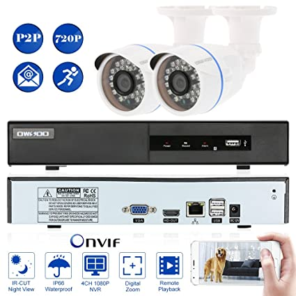 OWSOO 4 Canal Full 1080P NVR Grabador de Video + 2 HD 720P Cámara IP Bala