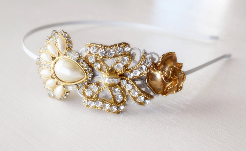 Bridal Headband - Gold Vintage Jewelry Collection - Eisenberg 1920s - Wedding Headpiece -Rhinestone Bridal Hair Jewelry