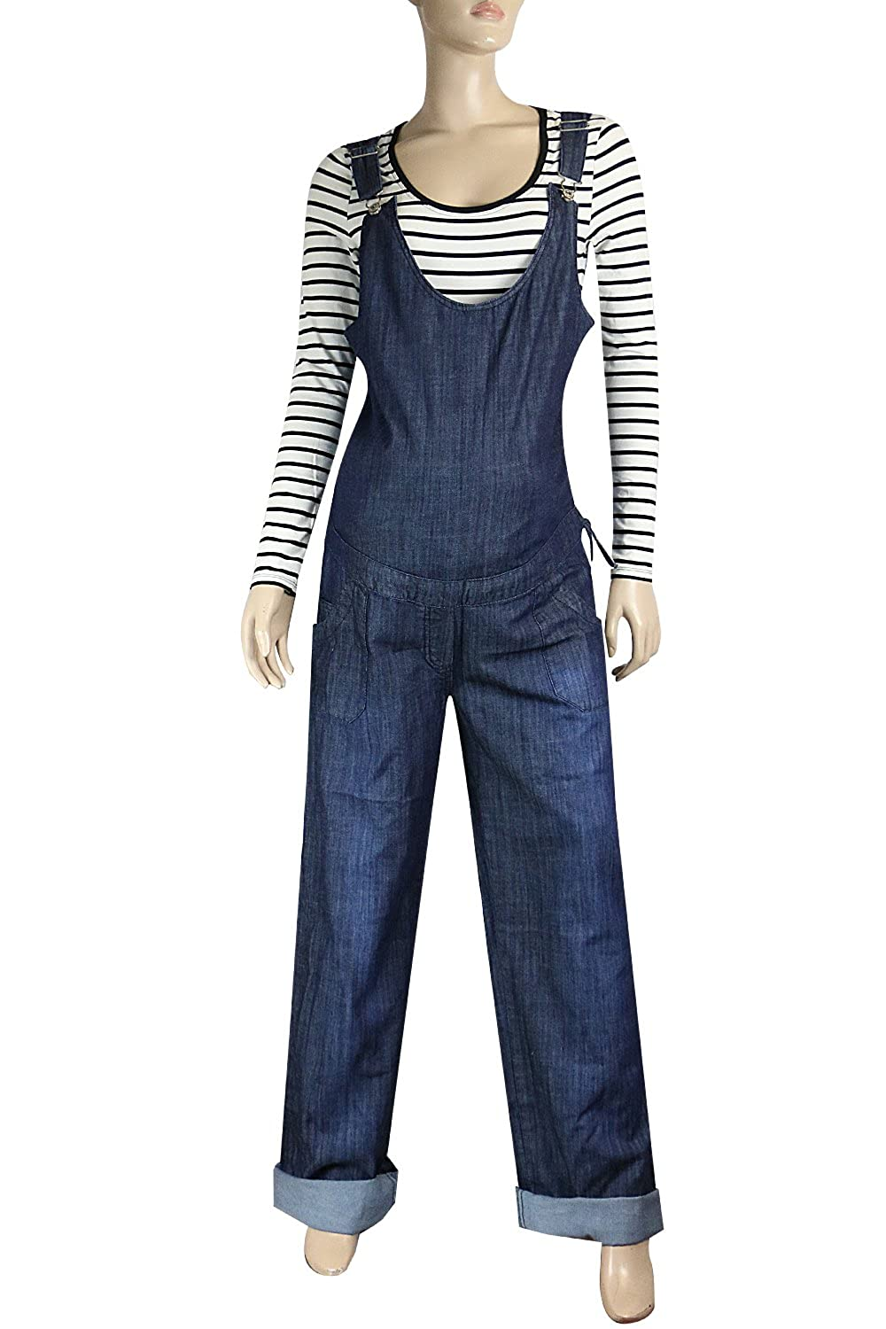 Clove Ladies Maternity Dungarees Blue Denim Long and Tall Drawstring Plus Size 14-24