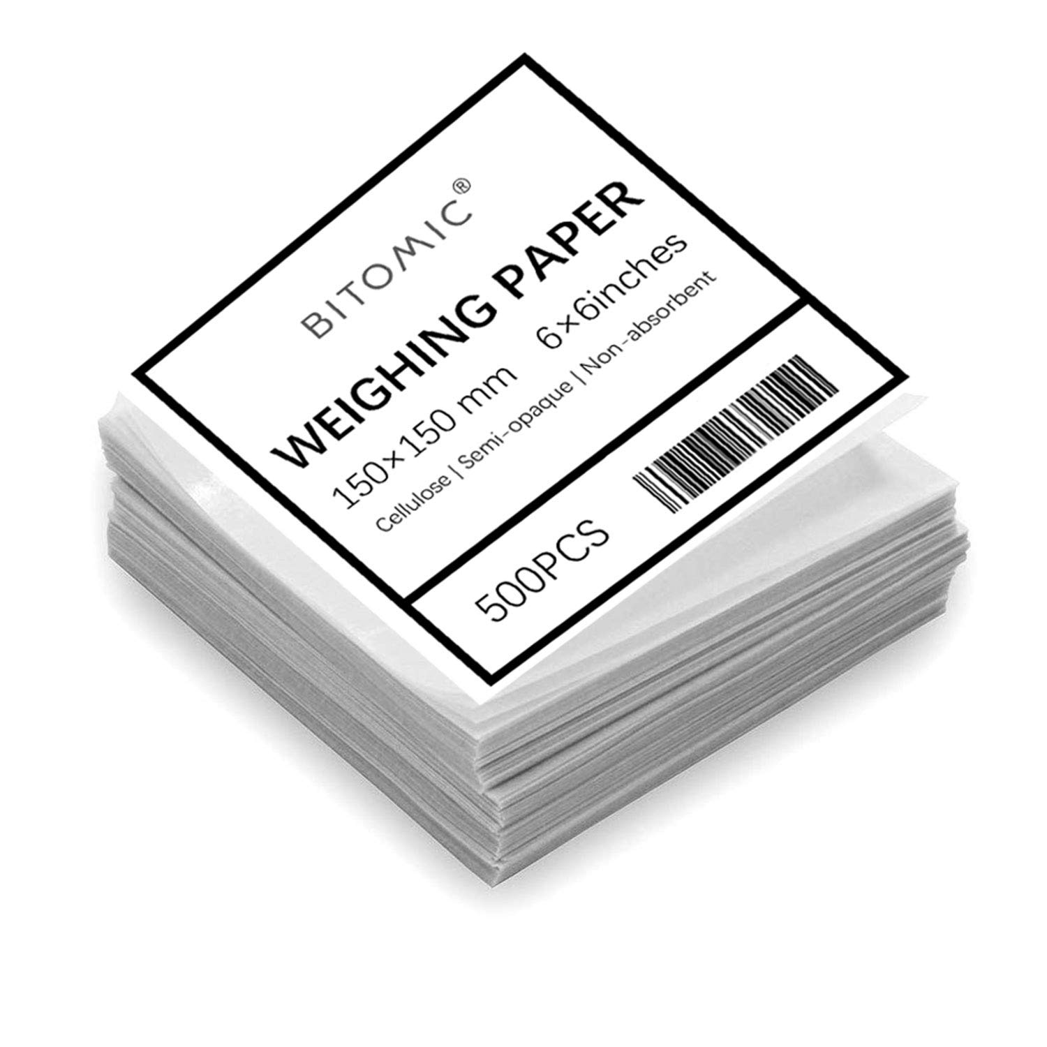 Bitomic 6x6 Cellulose Weighing Paper Sheet | Non-Stick Non-Absorbent Nitrogen-Free Gloss Paper Sheets | for Scale Measurement Samples Transfer | Laboratory Sample Weighing Paper| 6x6 Inches - 500 Pcs by Bitomic