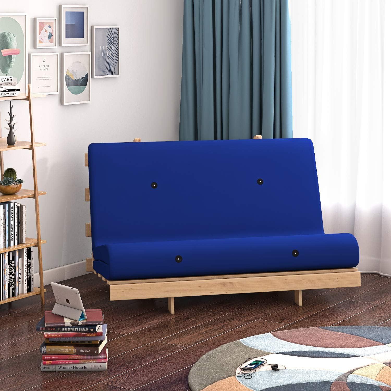 Panana - Sofá Palets con Estructura Madera Cojín Asiento y Respaldo Acolchado Completo Relax Inclinable Habitación Jardín Interior Terraza Balcón Arcón (Azul)