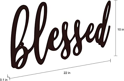 Lavish Home Metal Cutout Blessed Wall Sign 3d Word Art Home Accent Decor Perfect For Modern Rustic Or Vintage Farmhouse Style Home Kitchen
