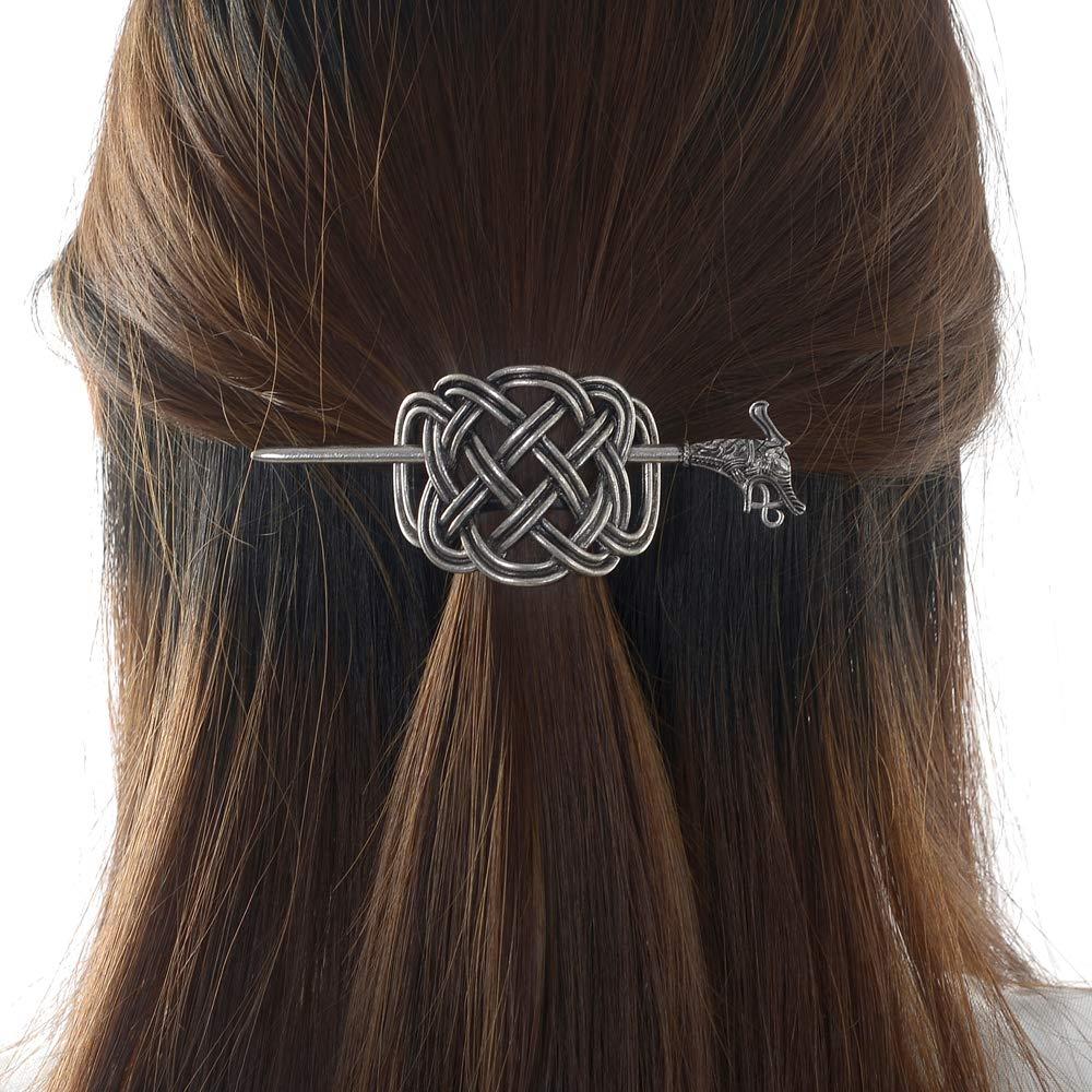 Viking silver metal celtic dragon filigree hair clip barrette